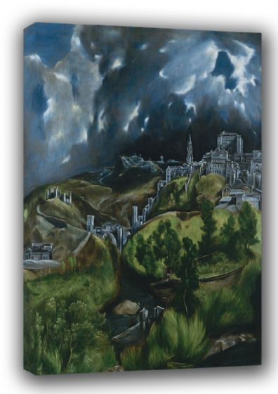 El Greco (Domenico Theotocopuli): View of Toledo. Landscape Fine Art Canvas. Sizes: A3/A2/A1. (00156)